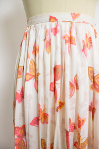 1960s Skirt BUTTERFLY Pleated Nylon 60s XS Extra Small