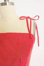 Load image into Gallery viewer, 1970s Dress Red Polka Dot Ruffle Full Skirt M
