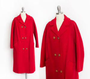 1960s Coat Red Wool Ribbed Rhinestone Buttons M / L