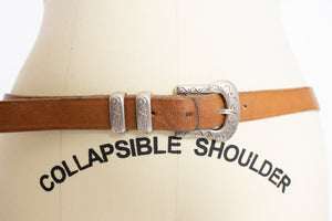 Vintage 1980s Belt Brown Leather Thin Silver Buckle Western Large