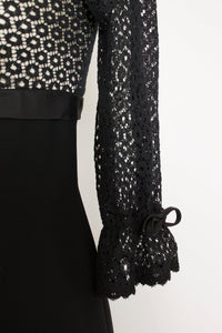 1960s Dress Black Lace Empire Waist Cocktail S