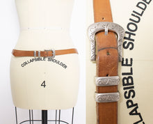 Load image into Gallery viewer, Vintage 1980s Belt Brown Leather Thin Silver Buckle Western Large