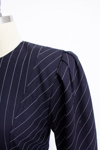 1980s Dress ALBERT NIPON Pin Striped Navy Small