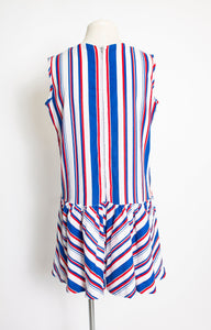 1960s Romper Striped Cotton Playsuit Medium