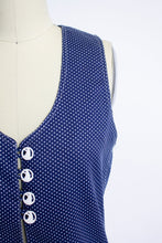 Load image into Gallery viewer, 1960s Top Cover Up Polka Dot Cotton Tunic NOS 70s Small