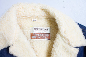 Vintage 80s Sherpa Jacket Roebucks Denim Fleece Jean Coat 1980s 42 R