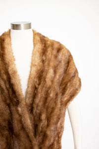 1950s Fur Stole MINK Brown Plush Fluffy Wrap Caplet
