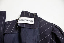 Load image into Gallery viewer, 1980s Dress ALBERT NIPON Pin Striped Navy Small