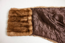 Load image into Gallery viewer, 1950s Fur Stole MINK Brown Plush Fluffy Wrap Caplet