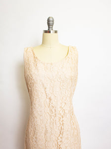 1960s Dress Champagne Lace Shift Sleeveless S