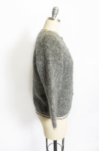 Vintage 1950s Sweater Italian Hand Knit Wool Mohair Gray Rose Cardigan Small