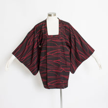 Load image into Gallery viewer, Vintage 60s Michiyuki Black Red Japanese Jacket Robe 1960s