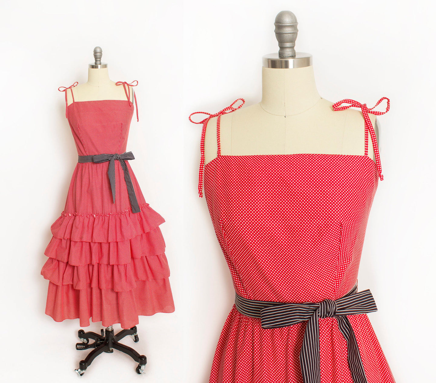 1970s Dress Red Polka Dot Ruffle Full Skirt M