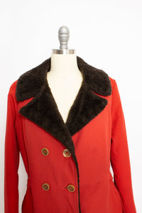 1970s Coat Rust Red Faux Fur Double Breasted Jacket M / L