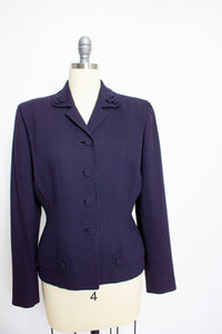 1950s Suit Jacket Dark Blue Navy Wool Fitted Blazer 50s M L