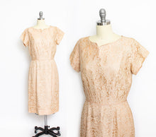 Load image into Gallery viewer, Vintage 1950s Dress Beige Champagne Lace 60s Large
