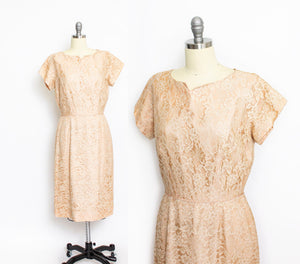 Vintage 1950s Dress Beige Champagne Lace 60s Large
