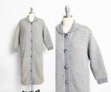 Load image into Gallery viewer, 1960s Sweater Long Wool Knit Gray Cardigan