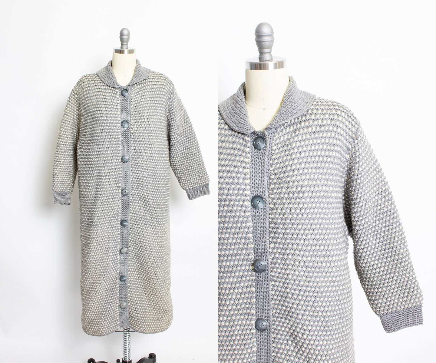 1960s Sweater Long Wool Knit Gray Cardigan