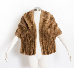 Vintage 1950s Fur Stole MINK Brown Plush Fluffy Wrap Caplet 50s Medium