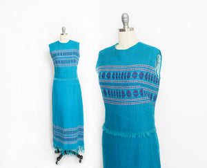 1960s Dress Set Greek Blue Knit Wool Maxi Skirt Top Medium