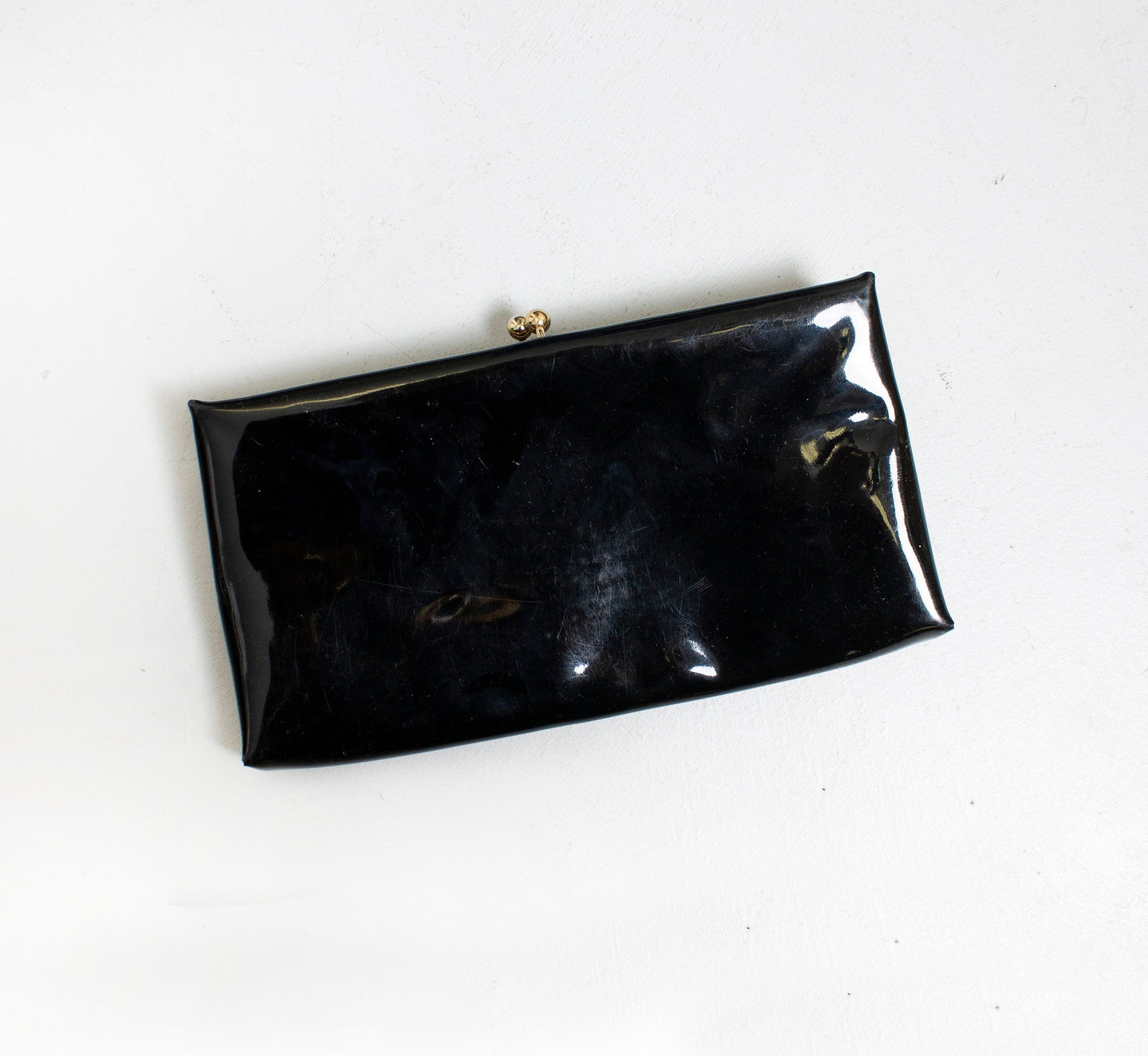 Vintage 1950s Purse Black Patent Vinyl Cocktail Clutch Bag