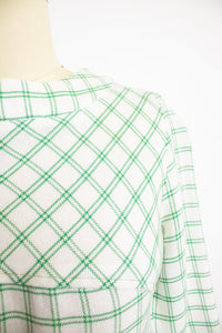 1960s Dress Linen Green Beige Windowpane Plaid S