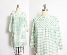 Load image into Gallery viewer, 1960s Dress Linen Green Beige Windowpane Plaid S