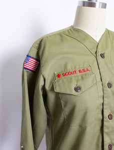 1960s BSA Shirt Boy Scouts Long Sleeve Green Illinois S / M