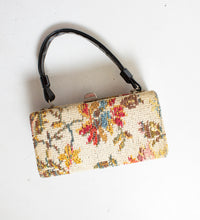 Load image into Gallery viewer, Vintage 1960s Box Purse Needlepoint Floral Carpet Hand Bag 60s