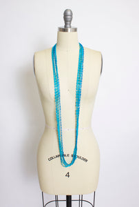 1960s Necklace Blue Beaded Long Multi Strand