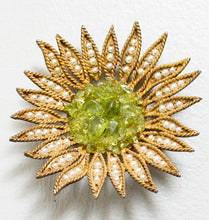 Load image into Gallery viewer, 1960s Brooch Gold Tone 3D Flower Green Pearl Pin