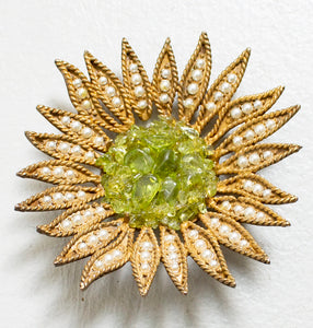 1960s Brooch Gold Tone 3D Flower Green Pearl Pin
