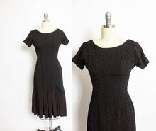 Load image into Gallery viewer, 1950s Dress Black Rayon Crepe Embroidered S
