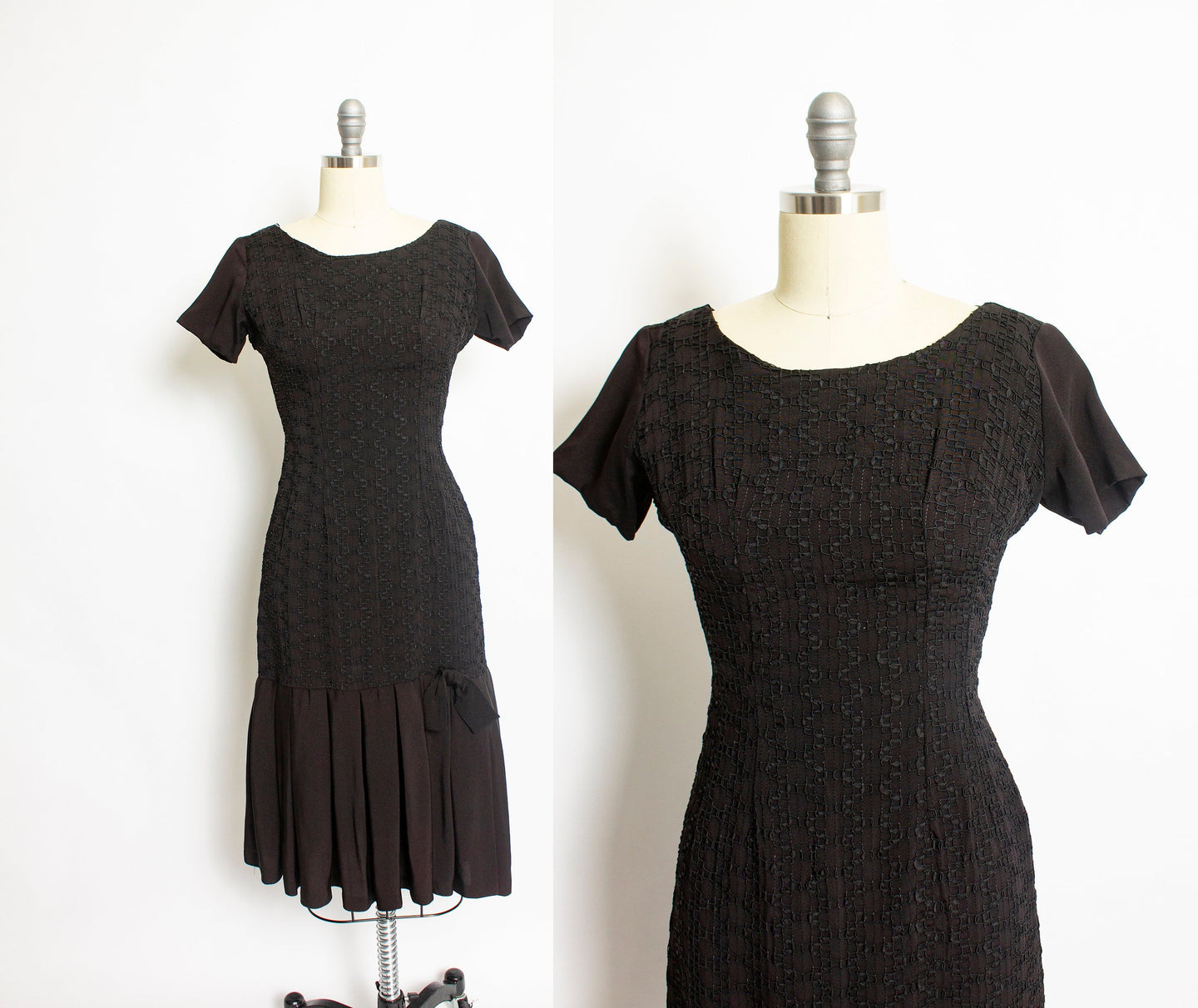 1950s Dress Black Rayon Crepe Embroidered S