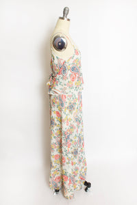 Vintage 1970s Dress Paisley Floral Cotton Full Length Maxi Boho Small