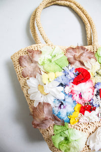 Vintage Basket Purse 1960s Woven Floral Top Handel Market Tote Bag 60s