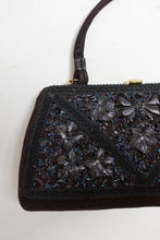 Load image into Gallery viewer, Vintage 1950s Box Purse Black Satin Fabric Hand Bag 50s