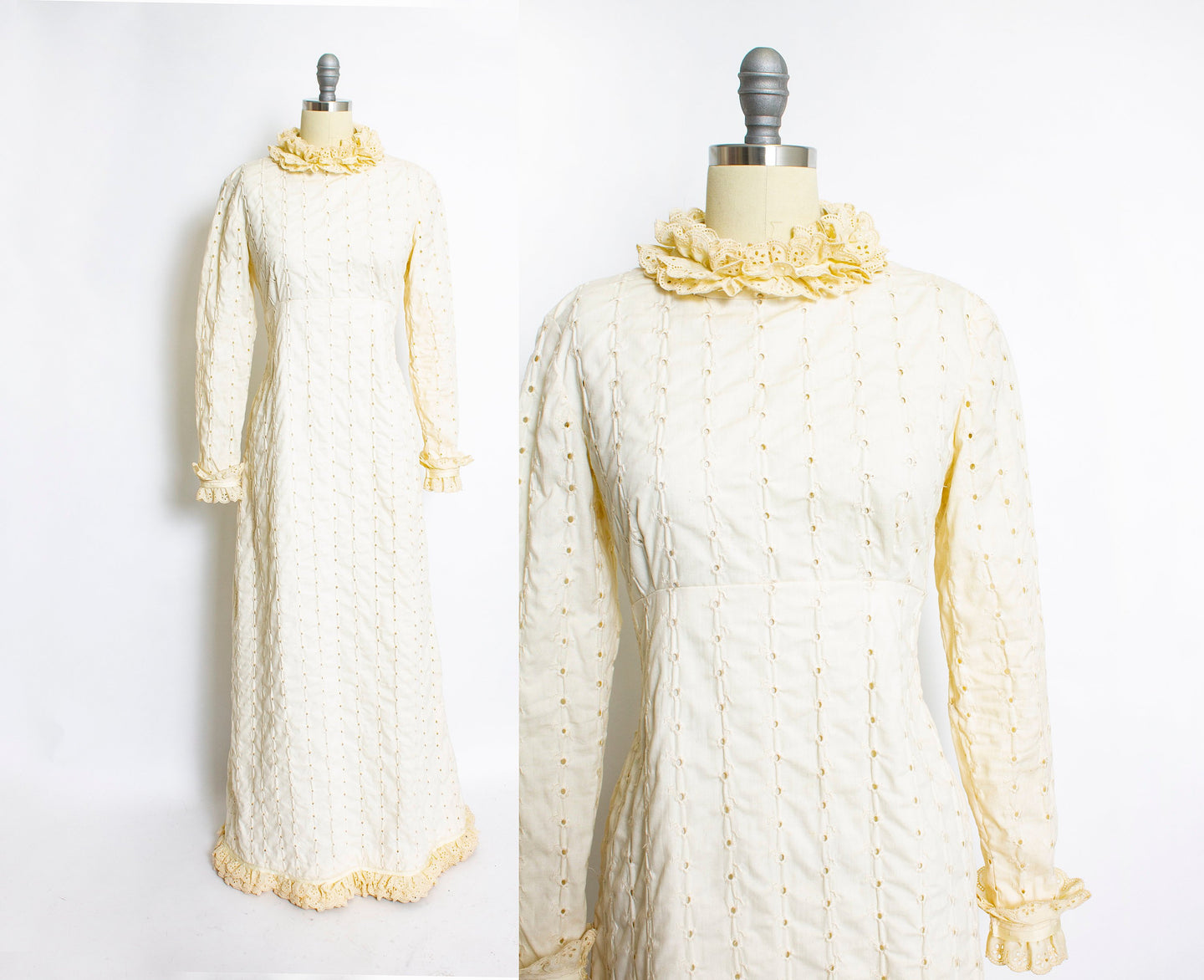 1970s Dress Beige Ruffle Full Length Eyelet Maxi Gown Small