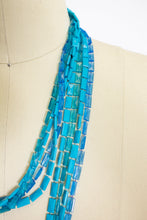 Load image into Gallery viewer, 1960s Necklace Blue Beaded Long Multi Strand