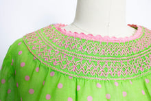 Load image into Gallery viewer, 1960s Dress Sheer Polka Dot Green Babydoll 60s S M