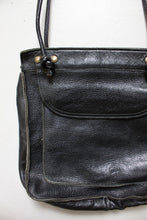 Load image into Gallery viewer, 1970s Purse Leather Black Shoulder Bag 60s