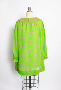 1960s Dress Sheer Polka Dot Green Babydoll 60s S M