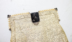 Vintage 1920s Purse Silk Embroidered Chinese Beaded Inlay Deco Clutch 20s