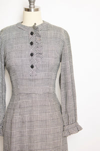 Vintage 1950s Dress Wool Herringbone Ruffle Fitted Day 50s Small