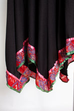 Load image into Gallery viewer, 1970s Dress Black Boho Handkerchief Peasant mall