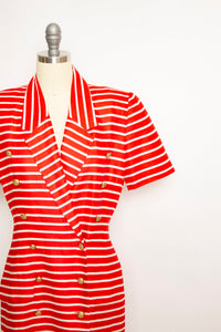 Vintage 1990s Dress Albert Nipon Red Striped Power 90s Small S