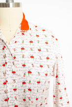 Load image into Gallery viewer, 1950s Shirt Novelty Print French Cafe Button Up Blouse M