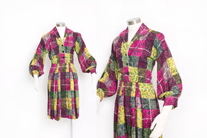 Vintage 1940s Dress Printed Rayon Poet Sleeve 40s Small