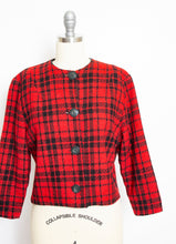 Load image into Gallery viewer, Vintage 1960s Cropped Jacket Red Plaid Wool 60s Medium M